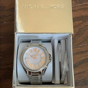MK3567 Kacie Silver Watch and Bracelet set